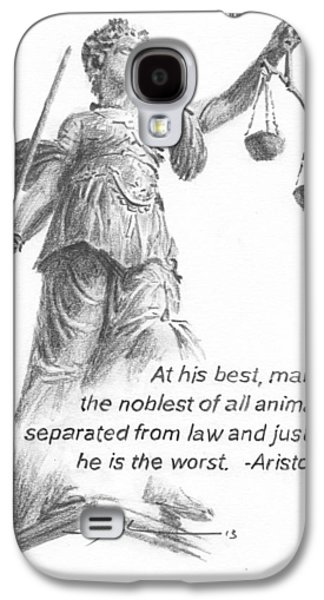 Recently Sold -  - Statue Portrait Galaxy S4 Cases - Lady Justice Statue Pencil Portrait Galaxy S4 Case by Mike Theuer