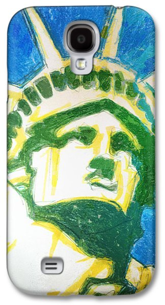 Statue Portrait Drawings Galaxy S4 Cases - Lady Liberty Galaxy S4 Case by Jerrett Dornbusch