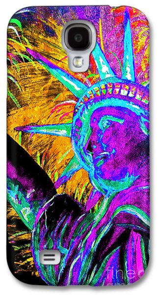 4th July Paintings Galaxy S4 Cases - Lady Liberty NYC Galaxy S4 Case by Teshia Art