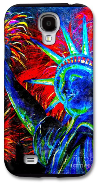 4th July Paintings Galaxy S4 Cases - Lady Liberty Galaxy S4 Case by Teshia Art