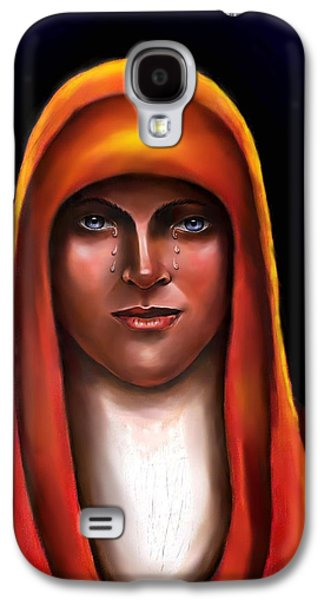 Spiritual Portrait Of Woman Digital Art Galaxy S4 Cases - Lady of Sorrow Galaxy S4 Case by Carmen Cordova