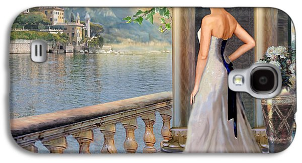Lake Como Paintings Galaxy S4 Cases - Lady on the stairs by Lake Como.  Galaxy S4 Case by Gina Femrite