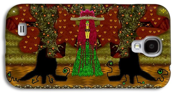 Tree Roots Mixed Media Galaxy S4 Cases - Lady Panda in the breadfruit forest Galaxy S4 Case by Pepita Selles