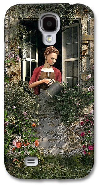Country Cottage Galaxy S4 Cases - Lady Window Galaxy S4 Case by Dominic Davison