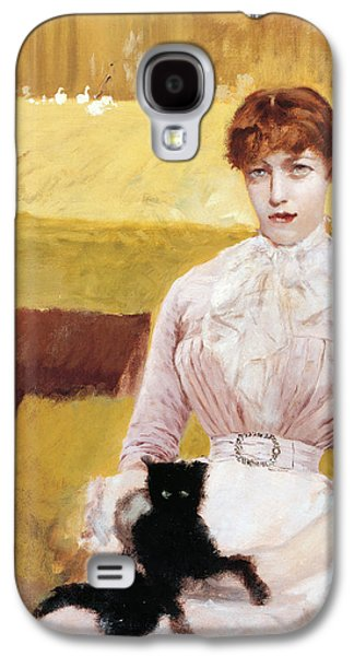 Posters On Paintings Galaxy S4 Cases - Lady with Black Kitten Galaxy S4 Case by Giuseppe De Nittis
