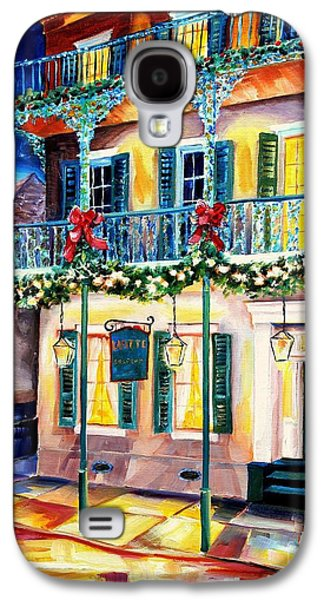 Night Lamp Paintings Galaxy S4 Cases - Lafitte Guest House at Christmas Galaxy S4 Case by Diane Millsap