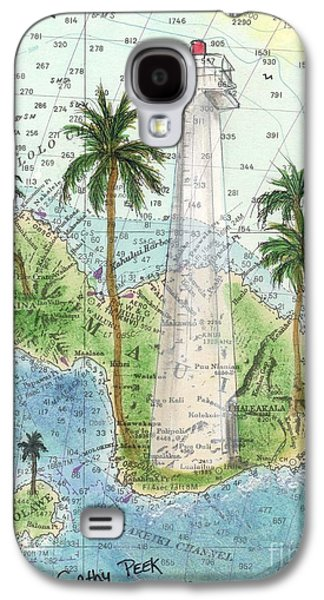 Chart Paintings Galaxy S4 Cases - Lahaina Lighthouse Maui HI Nautical Chart Map Art Cathy Peek Galaxy S4 Case by Cathy Peek