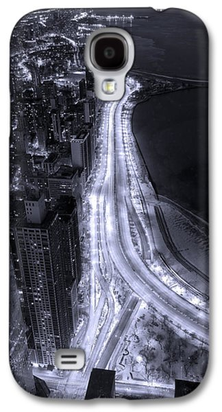Light Photographs Galaxy S4 Cases - Lake Shore Drive Aerial  B and  W Galaxy S4 Case by Steve Gadomski