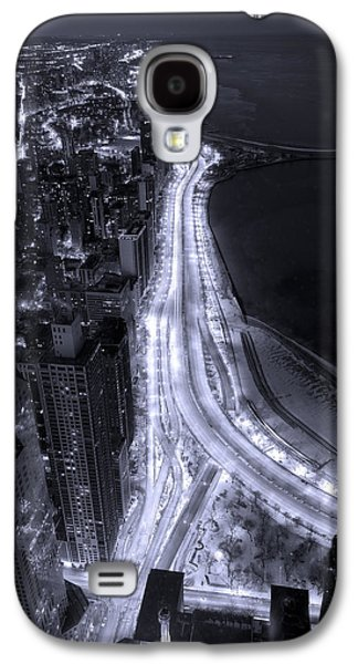 Lake Shore Drive Aerial  B And  W Galaxy S4 Case by Steve Gadomski
