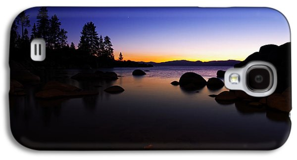 Gradient Galaxy S4 Cases - Lake Tahoe Sand Harbor Sunset Silhouette Galaxy S4 Case by Scott McGuire