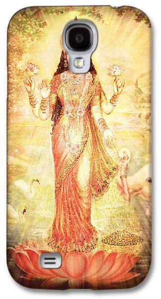 Hindu Goddess Galaxy S4 Cases - Lakshmi Goddess of Fortune vintage Galaxy S4 Case by Ananda Vdovic