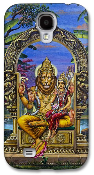 Chakra Paintings Galaxy S4 Cases - Lakshmi Narasimha Galaxy S4 Case by Vrindavan Das