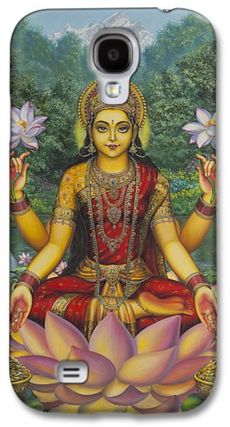 Original Paintings Galaxy S4 Cases - Lakshmi Galaxy S4 Case by Vrindavan Das