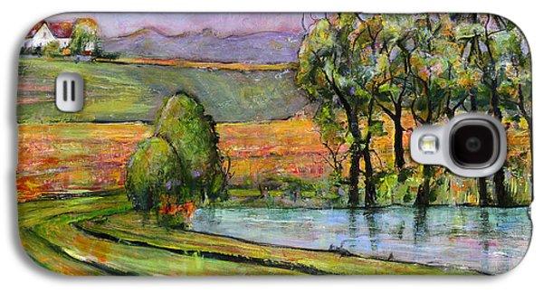 Farm Fields Paintings Galaxy S4 Cases - Landscape Art Scenic Fields Galaxy S4 Case by Blenda Studio
