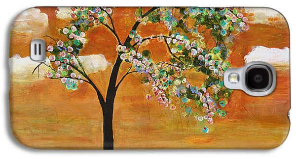 Landscape Art Scenic Tree Tangerine Sky Galaxy S4 Case by Blenda Studio