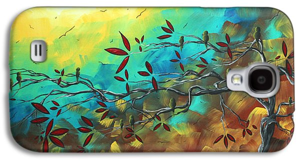 Abstract Landscape Galaxy S4 Cases - Landscape Bird Original Painting Family Time by MADART Galaxy S4 Case by Megan Duncanson