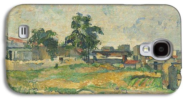 Farm Fields Paintings Galaxy S4 Cases - Landscape near Paris Galaxy S4 Case by Paul Cezanne