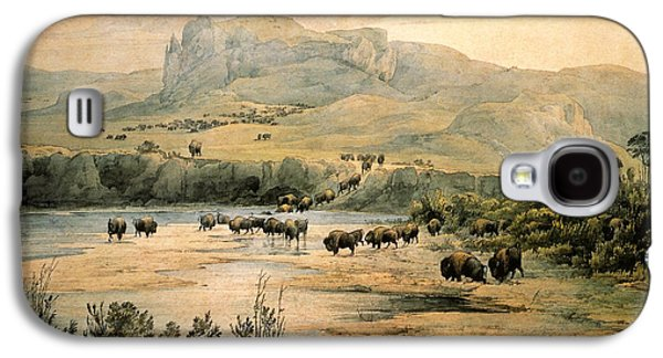 Bison Digital Galaxy S4 Cases - Landscape With Buffalo ont the Upper Missouri Galaxy S4 Case by Karl Bodmer