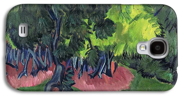 Woodlands Scene Paintings Galaxy S4 Cases - Landscape with Chestnut Tree Galaxy S4 Case by Ernst Ludwig Kirchner