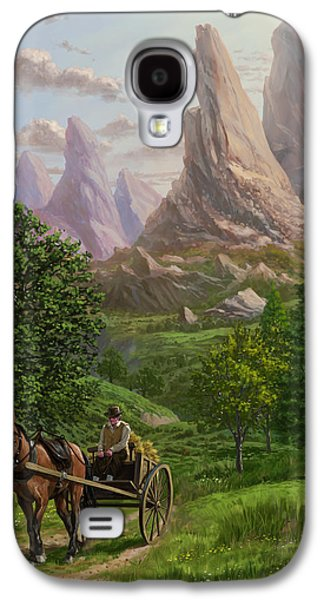 Horse And Cart Digital Galaxy S4 Cases - Landscape with man driving horse and cart Galaxy S4 Case by Martin Davey