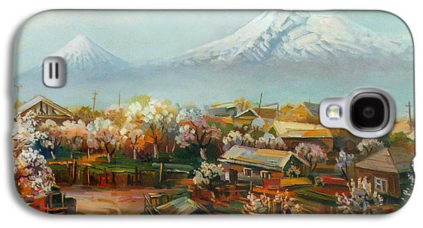 Landscape With Mountains Galaxy S4 Cases - Landscape with mountain Ararat from the village Aintap Galaxy S4 Case by Meruzhan Khachatryan