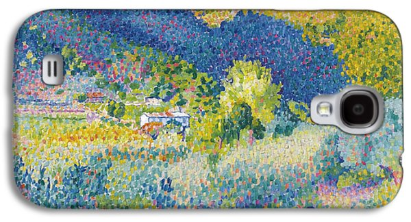 Landscape With Mountains Galaxy S4 Cases - Landscape with Mountain Range Galaxy S4 Case by Henri-Edmond Cross