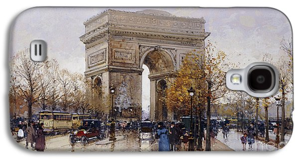 Patriotism Paintings Galaxy S4 Cases - LArc de Triomphe Paris Galaxy S4 Case by Eugene Galien-Laloue