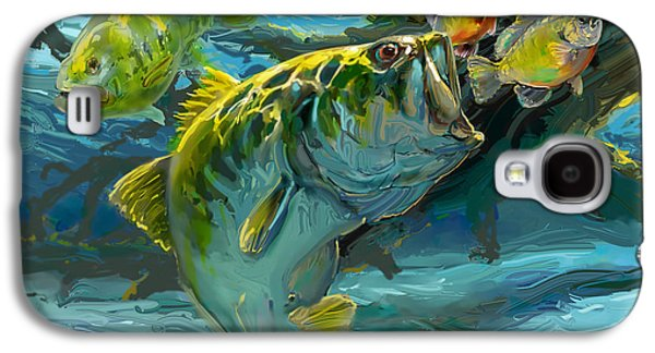 Flyfishing Galaxy S4 Cases - Large Mouth Bass and Blue Gills Galaxy S4 Case by Savlen Art