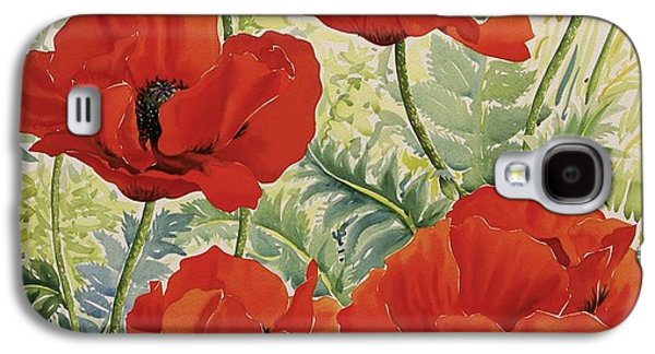 In Bloom Galaxy S4 Cases - Large Red Poppies Galaxy S4 Case by Christopher Ryland