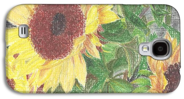 Facing Pastels Galaxy S4 Cases - Large Sunflower Galaxy S4 Case by Florence Fellows