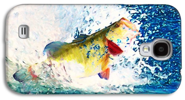 Bass Digital Art Galaxy S4 Cases - Largemouth Bass - Painterly Galaxy S4 Case by Wingsdomain Art and Photography