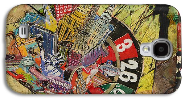 Cities Paintings Galaxy S4 Cases - Las Vegas Collage Galaxy S4 Case by Corporate Art Task Force