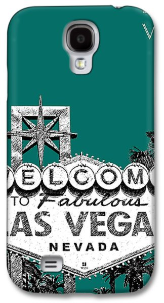 Mid-century Modern Decor Digital Galaxy S4 Cases - Las Vegas Welcome to Las Vegas - Sea Green Galaxy S4 Case by DB Artist