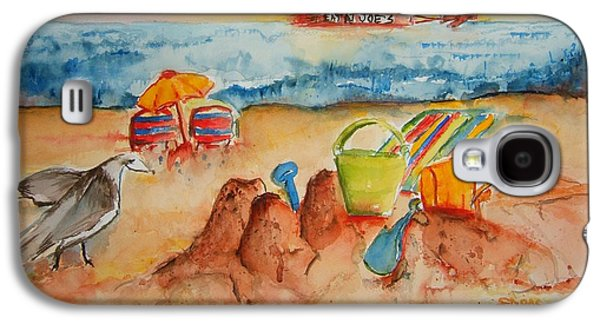 Sand Castles Paintings Galaxy S4 Cases - Late Afternoon Beach Galaxy S4 Case by Elaine Duras