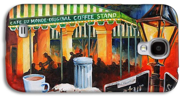 Night Lamp Paintings Galaxy S4 Cases - Late at Cafe Du Monde Galaxy S4 Case by Diane Millsap