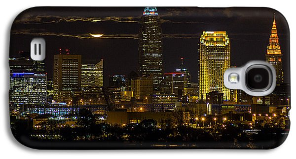 Behind The Scenes Photographs Galaxy S4 Cases - Late Autumn Moon over Cleveland Galaxy S4 Case by J Allen