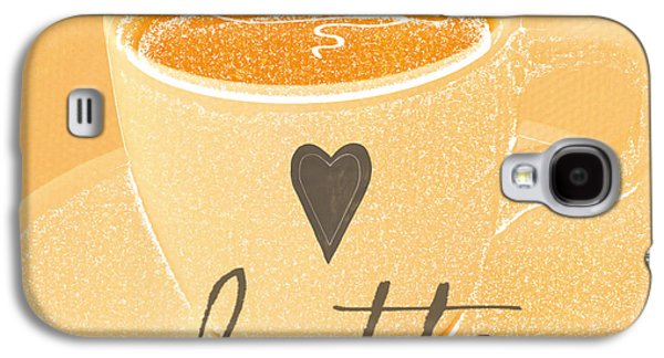 Peaches Galaxy S4 Cases - Latte Love in orange and white Galaxy S4 Case by Linda Woods