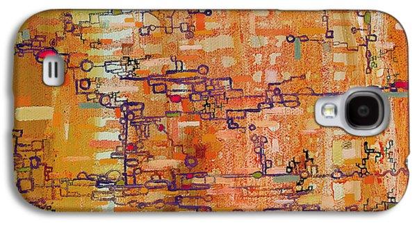 Lattice Animals Abstract Oil Painting By Regina Valluzzi Galaxy S4 Case by Regina Valluzzi