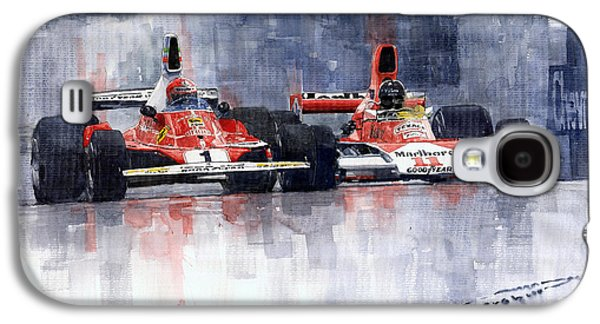 Watercolor Paintings Galaxy S4 Cases - Lauda vs Hunt Long Beach US GP 1976  Galaxy S4 Case by Yuriy Shevchuk
