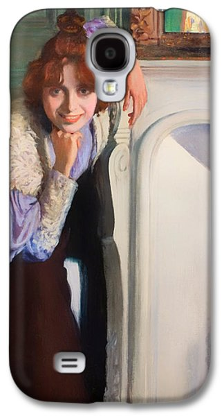 Chin On Hand Paintings Galaxy S4 Cases - Laughing Lady Galaxy S4 Case by Rusinol