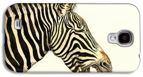 Nature Study Paintings Galaxy S4 Cases - Laughing zebra Galaxy S4 Case by Juan  Bosco