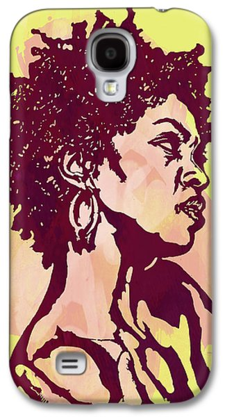 Character Portraits Mixed Media Galaxy S4 Cases - Lauryn hill b w -  Modern colour etching art  poster Galaxy S4 Case by Kim Wang