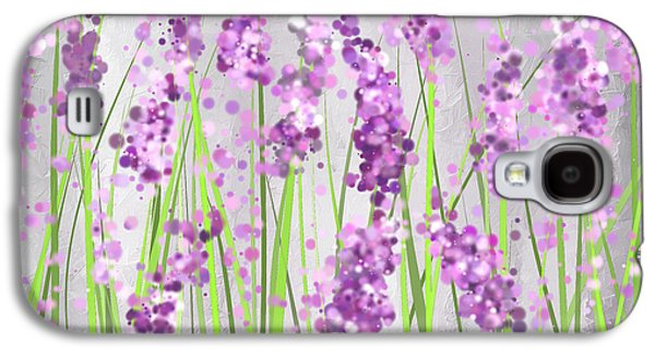 Purple Art Galaxy S4 Cases - Lavender Blossoms - Lavender Field Painting Galaxy S4 Case by Lourry Legarde