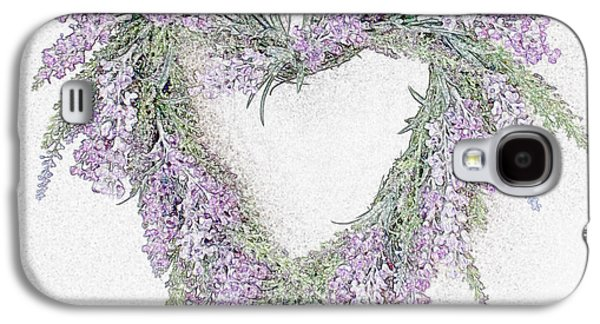 Lilacs Drawings Galaxy S4 Cases - Lavender Heart Galaxy S4 Case by Sharon Lisa Clarke