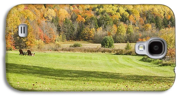 Autumn Landscape Galaxy S4 Cases - Lawn Chairs Overlooking Autumn Landscape in Vienna Maine Galaxy S4 Case by Keith Webber Jr