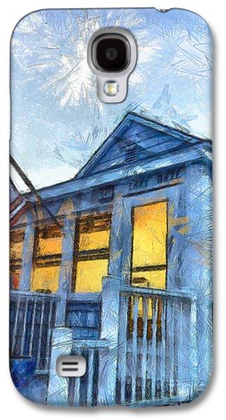 Fourth Of July Galaxy S4 Cases - Lazy Daze Beach Cottage Pencil Sketch Galaxy S4 Case by Edward Fielding