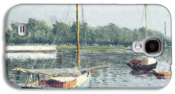 Water Vessels Paintings Galaxy S4 Cases - Le Bassin dArgenteuil Galaxy S4 Case by Gustave Caillebotte