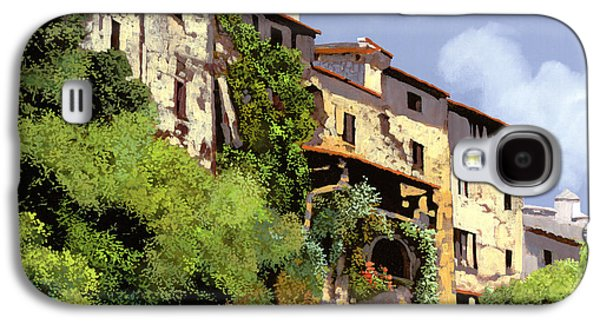 Village Paintings Galaxy S4 Cases - Le Case Sulla Rupe Galaxy S4 Case by Guido Borelli