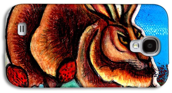 Landscape Acrylic Prints Drawings Galaxy S4 Cases - Le Grande Lapin Galaxy S4 Case by Genevieve Esson