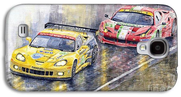 Automotive Galaxy S4 Cases - Le Mans 2011 GTE Pro Chevrolette Corvette C6R vs Ferrari 458 Italia Galaxy S4 Case by Yuriy  Shevchuk